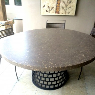 Pushed Taupe and Tiia Color Concrete Table Round 57