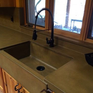 Concrete kitchen countertops and sinks phoenix az paradise concrete concrete farm sink and countertops florence color workwithnaturefo